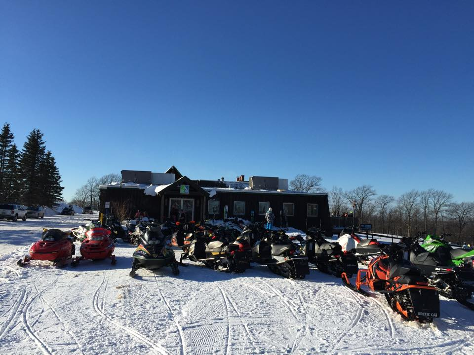 Snowmobiles at the Sky Bar