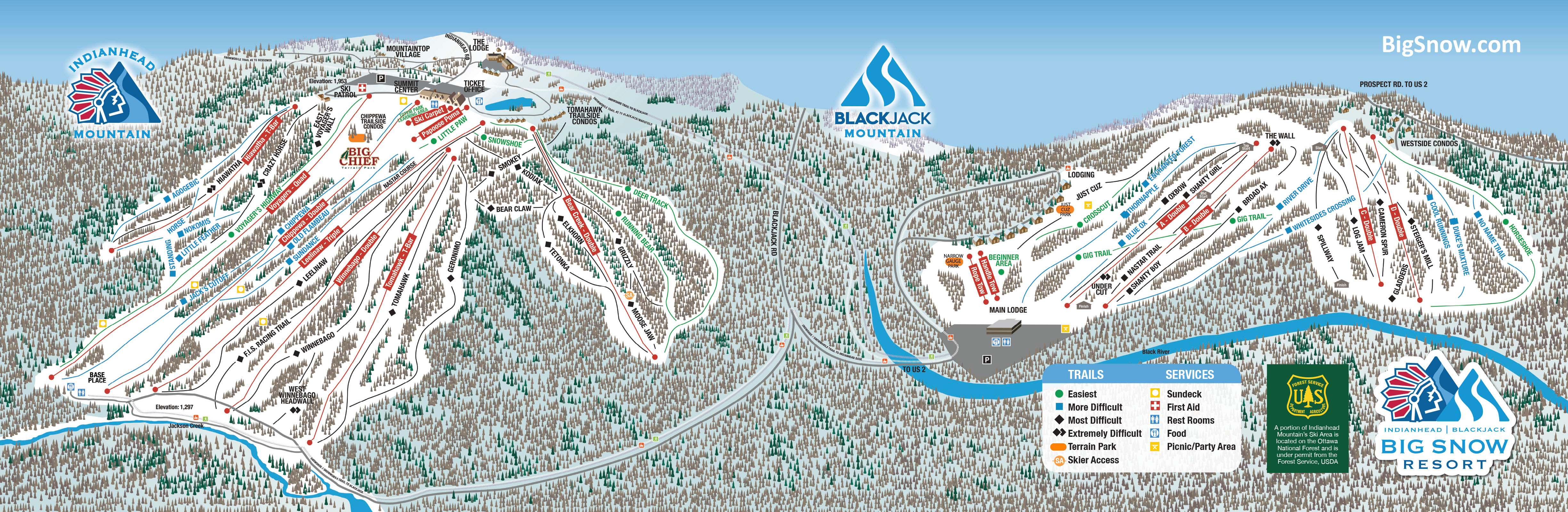 Big Snow Trail Map Big Sky Lodging Map on